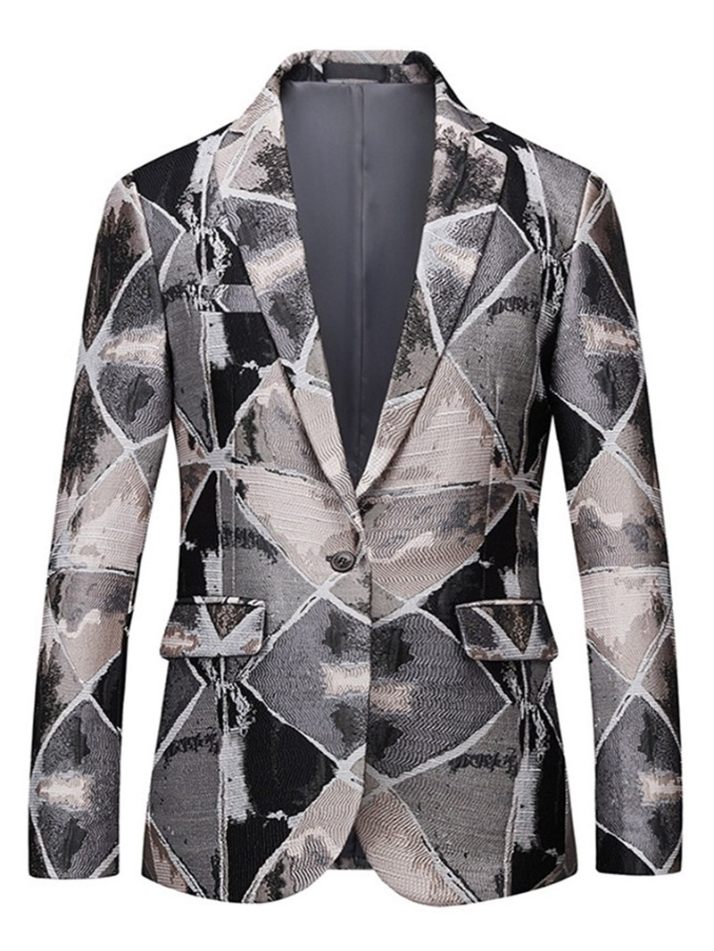 Ericdress Casual Notched Lapel Color Block Men's Leisure Blazers Suit