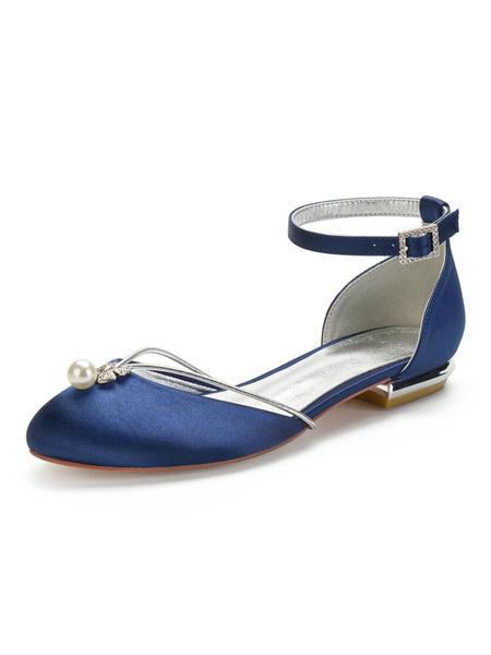 Milanoo Wedding Shoes White Satin Pearls Round Toe Flat Bridal Shoes