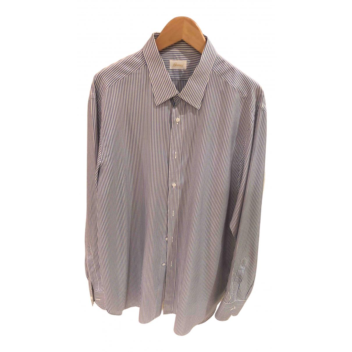 Brioni \N Blue Silk Shirts for Men 17 UK - US (tour de cou / collar)