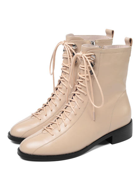 Milanoo Women Combat Boots Cowhide Genuine Leahter Chunky Heel Lace Up Ankle Boots