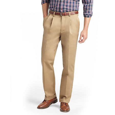 IZOD American Chino Classic Fit Pleated Pant, 30 32, Beige