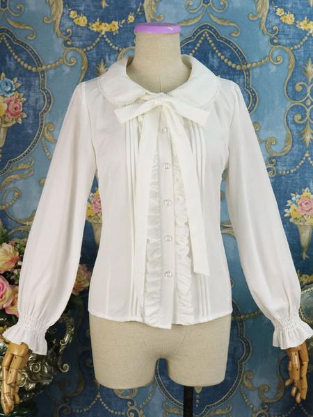 Milanoo Classic Lolita Shirt Ruffle Bow Chiffon White Lolita Blouse