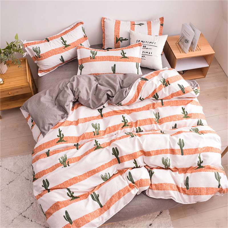 Cactus 4pcs Polyester Zipper Bedding Sets Machine Washable Plant Pattern Duvet Cover with Corner Ties