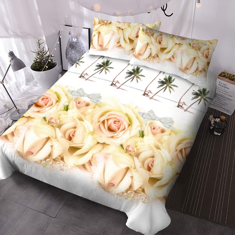 Yellow Roses and Palm Tree 3Pcs Microfiber No-Fading Comforter Set 3D Floral Comforter with 2 Pillow Covers