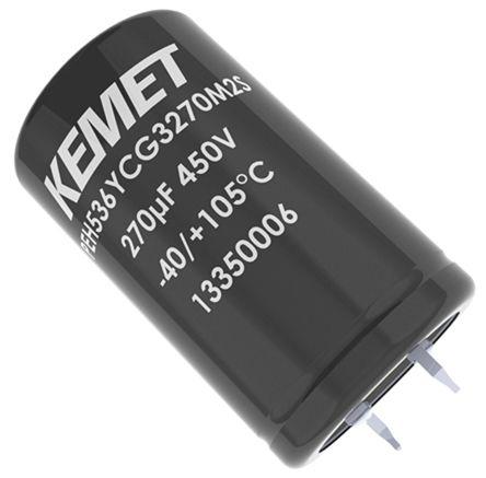 KEMET 390μF Electrolytic Capacitor 400V dc, Snap-In - PEH536VDF3390M3