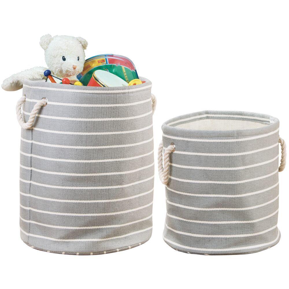 Round Fabric Kids Toy Basket Storage Bin Hamper Set/Cream Stripe - Set of in Gray, by mDesign