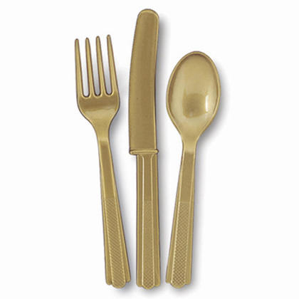 Party Plastic Assorted Cutlery Solid Color Gold 18Pcs