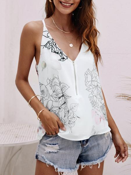 Yoins White Zipper Design Random Floral Print V-neck Cami