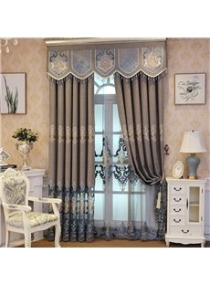 Embroidered European Style Living Room Luxury Sheer Curtains