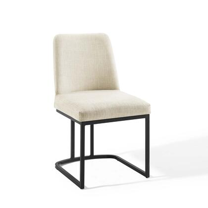 Amplify Collection EEI-3811-BLK-BEI Dining Side Chair with Sled Base  Dense Foam Padding  Matte Black Stainless Steel Frame and Polyester Fabric