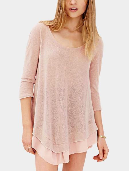 Yoins Pink 3/4 Length Sleeves Semi-sheer Layered Simple Mini Dress