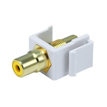 Modular RCA w/Yellow Center Keystone Jack - White - Monoprice®