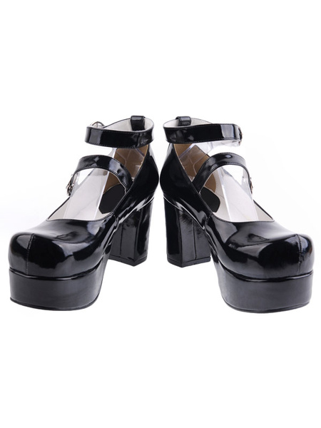Milanoo Glossy Black Lolita Heels Shoes Platform Shoes Ankle Straps Buckles