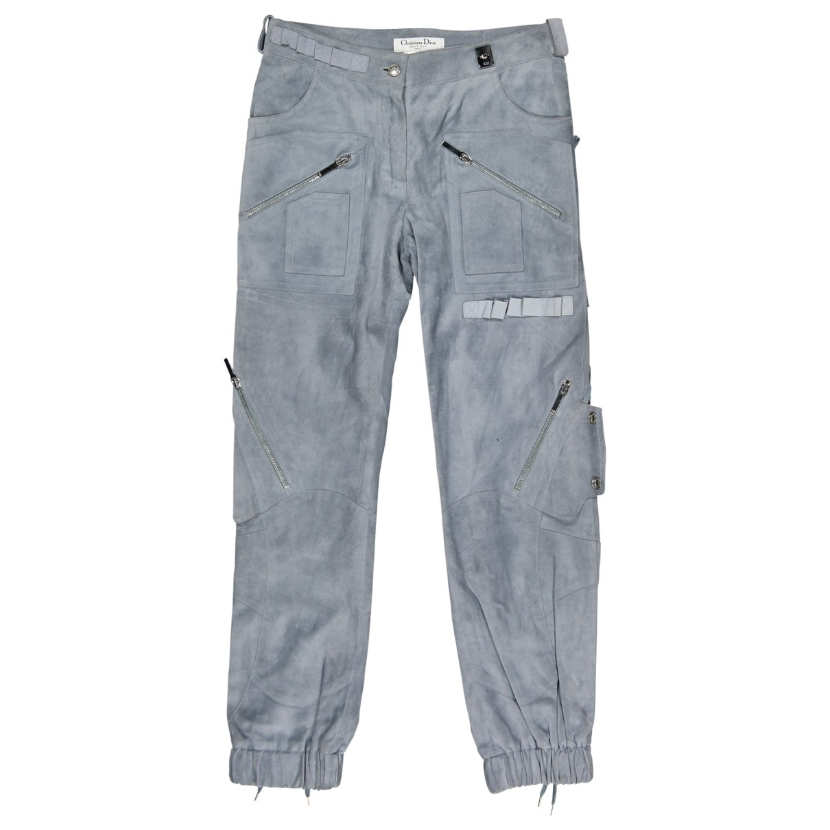 Dior \N Blue Leather Trousers for Women 34 FR