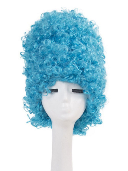 Milanoo Carnival Costume Wig Spiral Curl High Do Bun Blue Holiday Wig