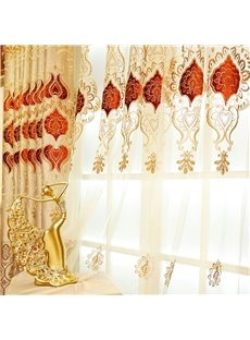 Noble Classy Polyester Embroidered Golden and Red Flowers Living Room Custom Sheer Curtain
