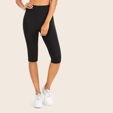 Elastic Waist Skinny Solid Legging Shorts
