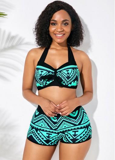 Sexy Bikinis High Waist Seafoam Green Halter Bikini Set - XS