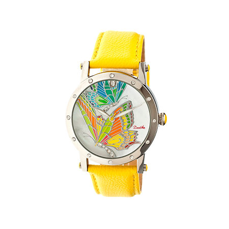 Bertha Isabella Womens Mother Of Pearl Dial Yellow Leather Strap Watch Bthbr4301, One Size , No Color Family