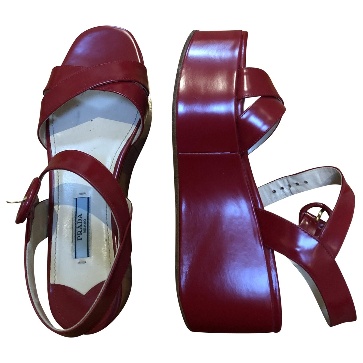 Prada \N Red Patent leather Sandals for Women 37 EU