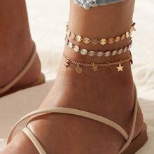 3pcs Disc Chain Anklet