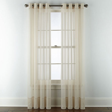 Home Expressions Lisette Sheer Grommet-Top Single Curtain Panel, One Size , Beige