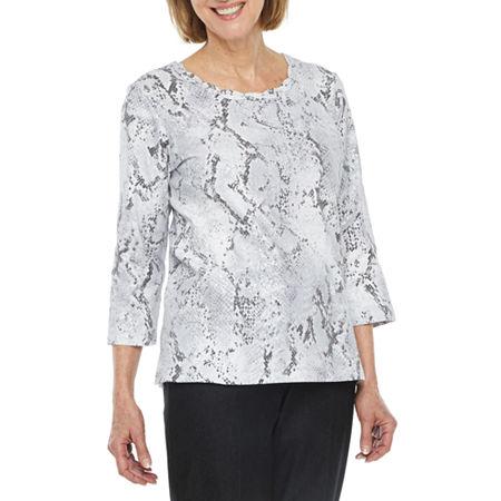 Alfred Dunner Classics-Womens Round Neck 3/4 Sleeve T-Shirt, Petite Medium , Gray