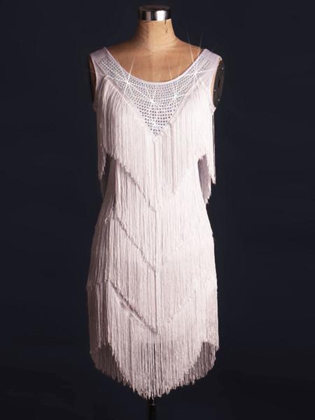 Milanoo Dance Costumes Latin Dancer Dresses Women's White Fringe Crystal Dancing Clothes Hallloween