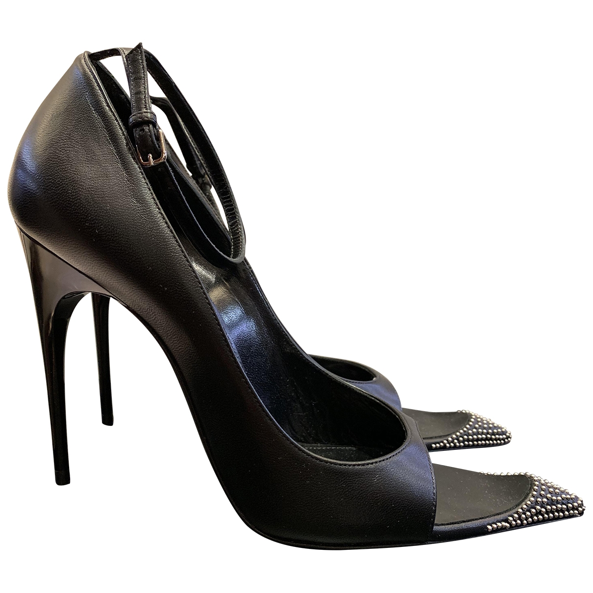 Saint Laurent \N Black Leather Heels for Women 38.5 EU
