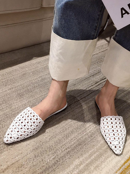 Milanoo White Flat Mules Women PU Leather Pointed Toe Cut Out Slide Shoes