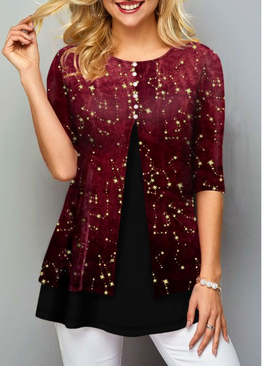Women'S Deep Red Half Sleeve Star Print Holiday T Shirt Xnas Round Neck Hot Stamping Tunic Casual Top By Rosewe - XXL