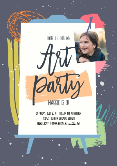 Kids Birthday Party Invites 5x7 Cards, Premium Cardstock 120lb, Card & Stationery -Put The Art In Party Invitation