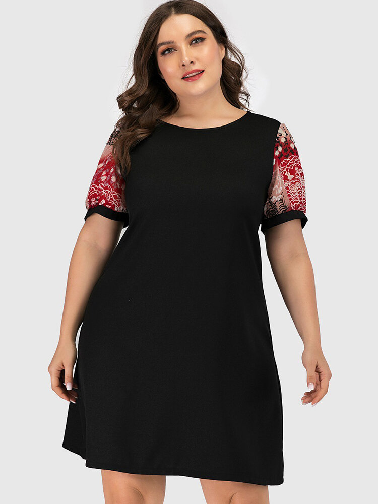 Patchwork Print Sleeve Plus Size Dress for Women