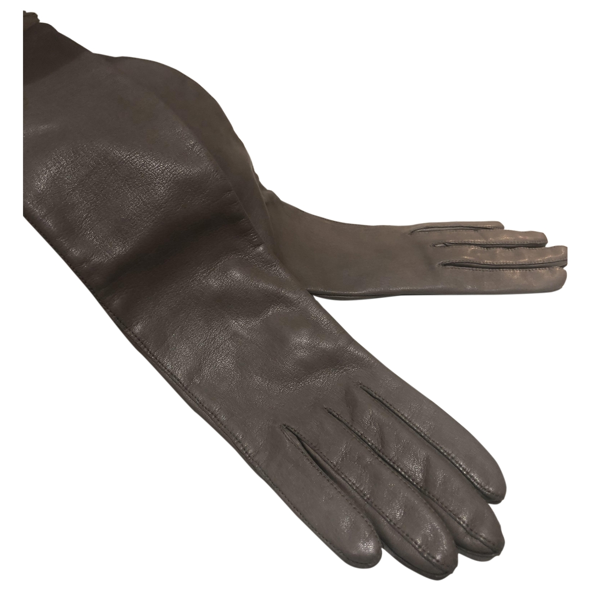 Non Signé / Unsigned \N Brown Leather Gloves for Women 6.5 Inches
