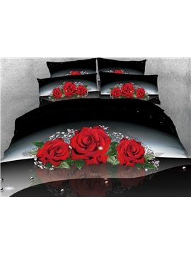 Vivilinen 3D Red Rose with Green Leaves Printed 5-piece Comforter Sets