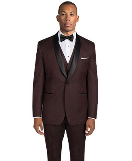 Men's Single Breasted 1 Button Shawl Lapel Dark Brown Tuxedo