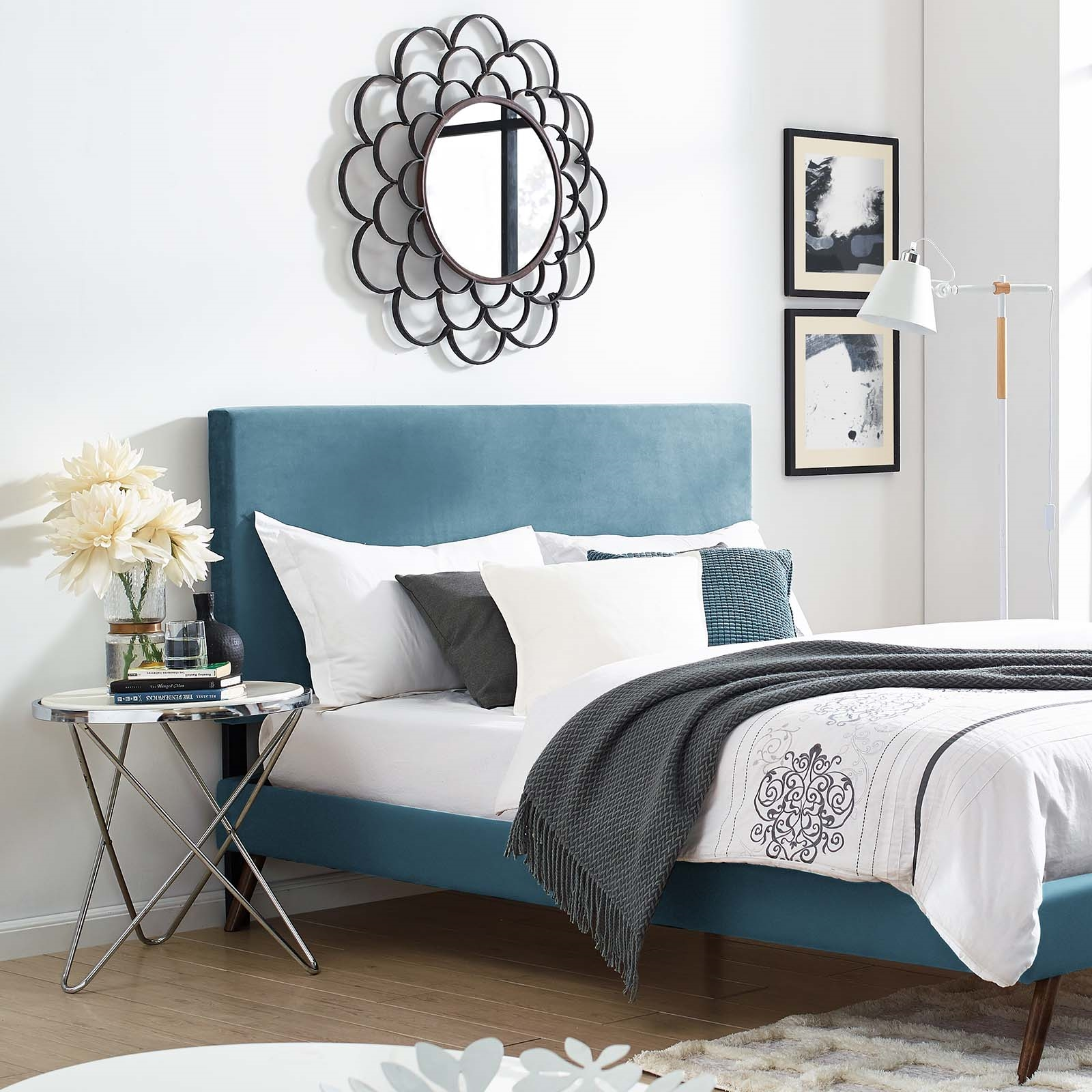 Taylor Full / Queen Upholstered Performance Velvet Headboard in Sea Blue