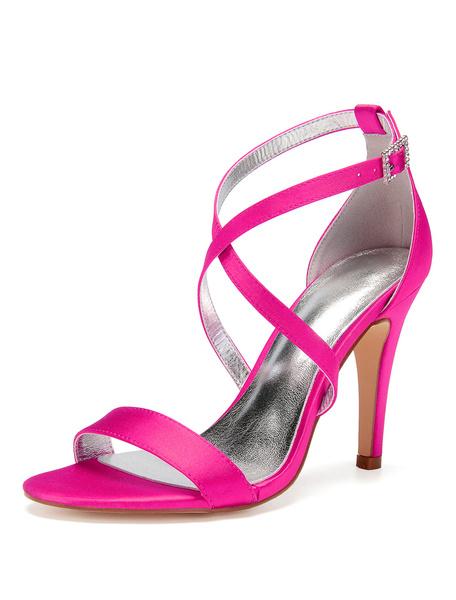 Milanoo High Heel Sandals Satin Open Toe Criss Cross Wedding Shoes