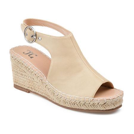 Journee Collection Womens Crew Wedge Sandals, 5 1/2 Medium, White