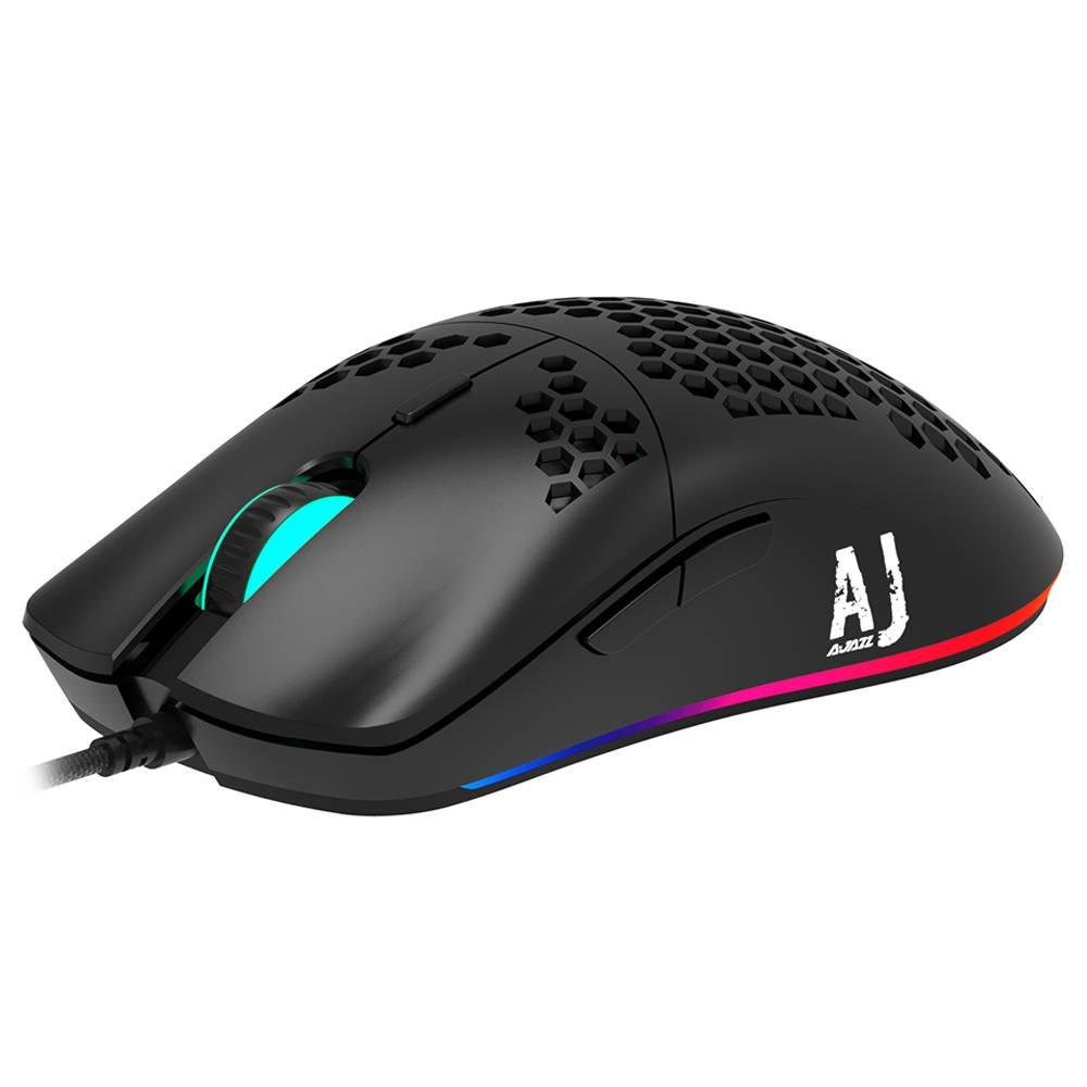 Ajazz AJ390 Ultralight Optical Wired Mouse Hollow-out RGB Light 16000 DPI Adjustable 7 keys - Black