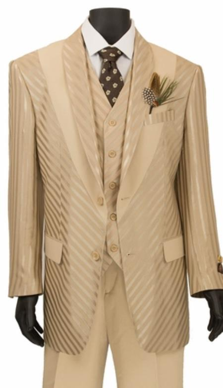 Mens Shiny Stripe 3 Piece Fashion Suit Beige