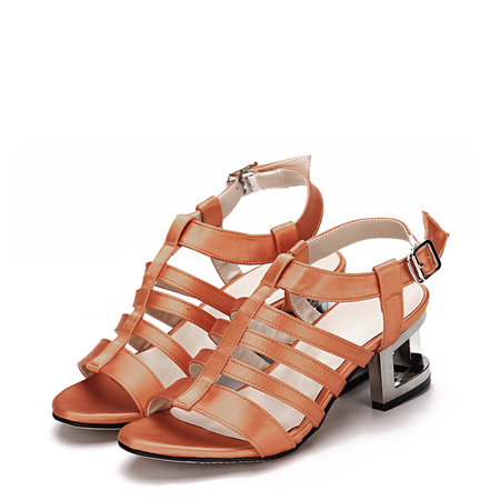 Yoins Orange Leather Look Straps Metallic Hollow Heel Gladiator Sandals