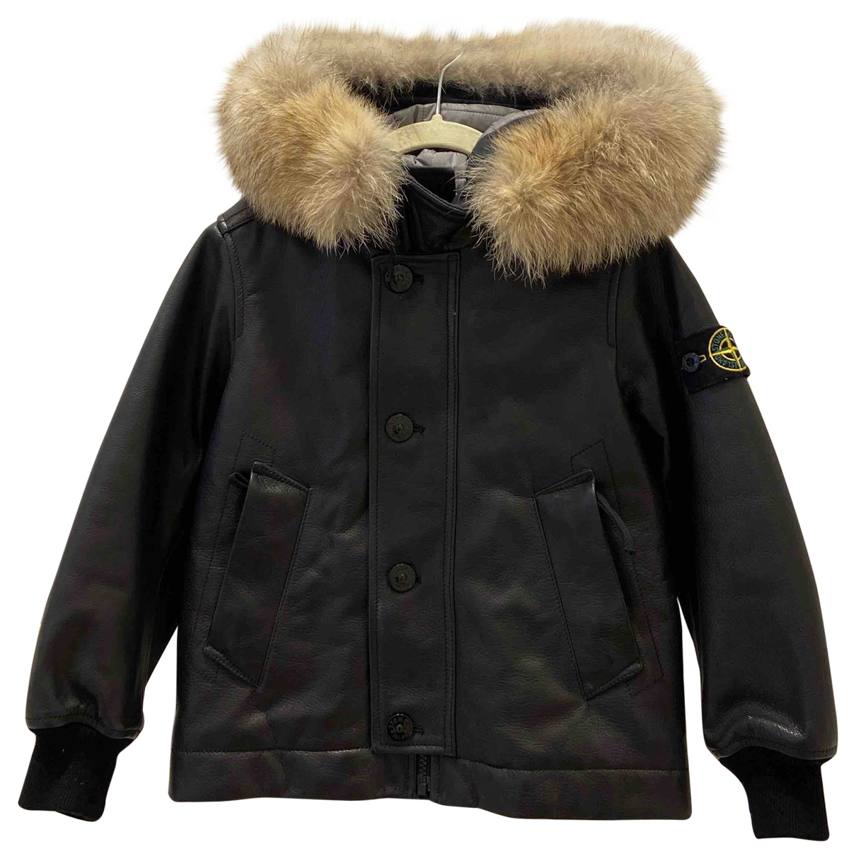 Stone Island \N Black Leather jacket & coat for Kids 6 years - until 45 inches UK