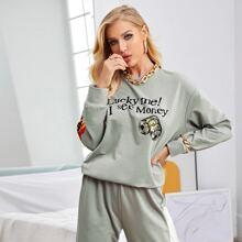 Drop Shoulder Slogan & Fire Print Pullover