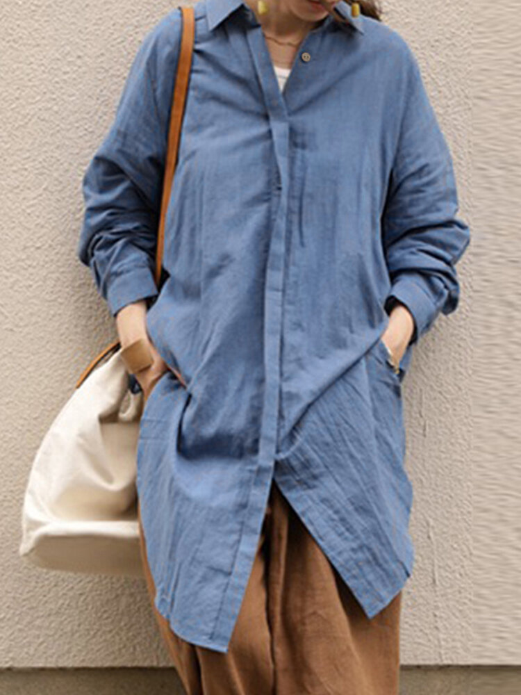 Asymmetrical Split Hem Long Sleeve Vintage Plus Size Shirt