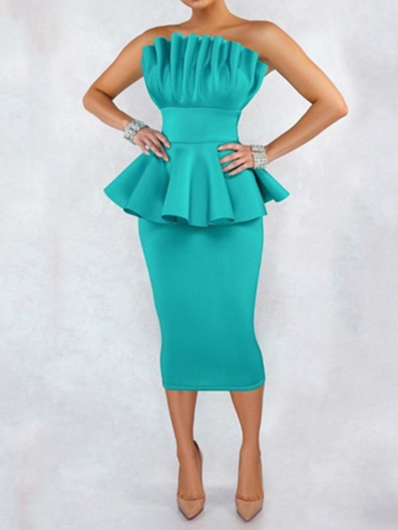 Ericdress Pleated Mid-Calf Sleeveless Pullover Pencil Dress