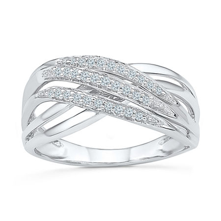Womens 1/8 CT. T.W. Genuine White Diamond Sterling Silver Crossover Cocktail Ring, 7 1/2 , No Color Family