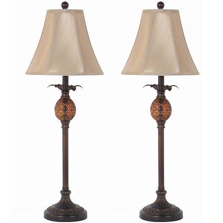 JCPenney Home Set of 2 Pineapple Buffet Table Lamps, One Size , Brown