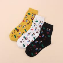 3pairs Cartoon Graphic Socks