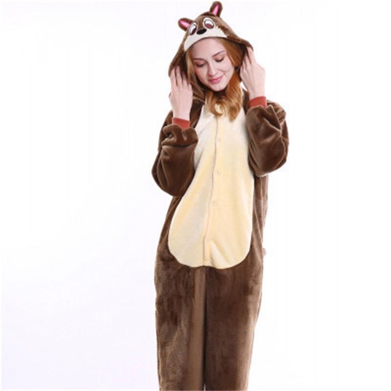 Halloween Brown Chipmunk Flannel One-Piece Stretchable Pajama Jumpsuit
